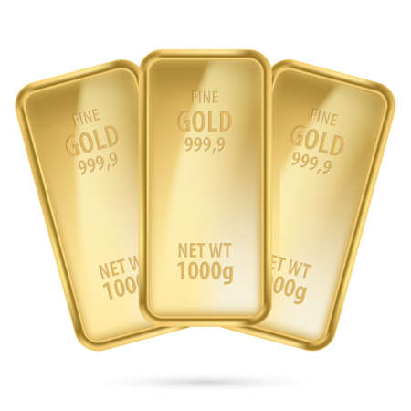 Three gold bars.  Illustration on white background Vector