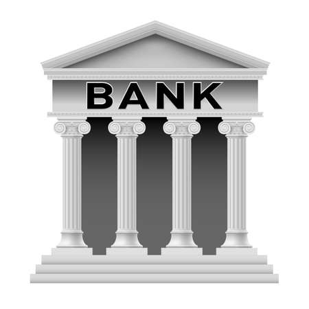 derecho romano: Icono del edificio del Banco. Ilustración sobre fondo blanco para el diseño