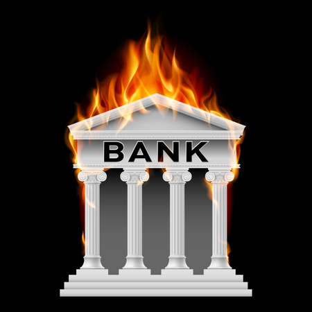building fire: Burning Building bank. Illustration on black background Illustration