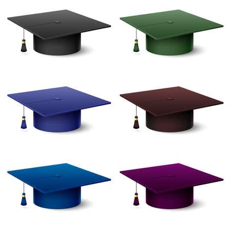 mortero: Conjunto de sombreros coloridos de posgrado. Ilustración sobre fondo blanco
