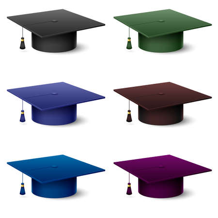 mortar board: Set of of colorful hats graduate. Illustration on white background Illustration