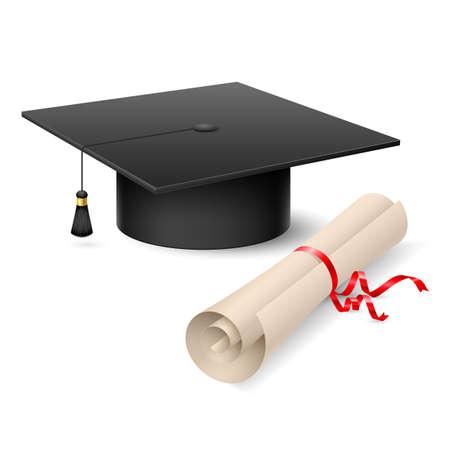 fondo de graduacion: Graduation cap and diploma. Ilustraci�n sobre fondo blanco