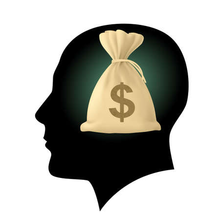 moneybag: Silhouette of human head with bag money. Illustration on white