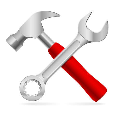 Hammer and wrench. Illustration on white background Vector