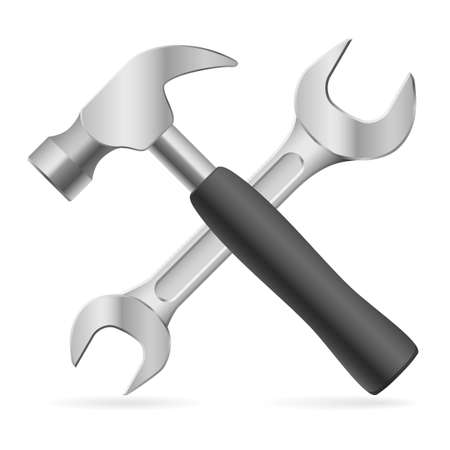 screw key: Hammer and wrench. Illustration on white background for design