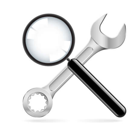 Magnifying glass and wrench.  Illustration on white background Stock Vector - 17421972