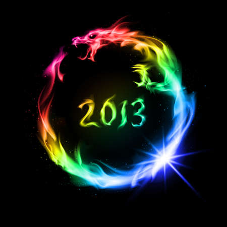 flying dragon: Rainbow fiery dragon. Illustration on black background for design.