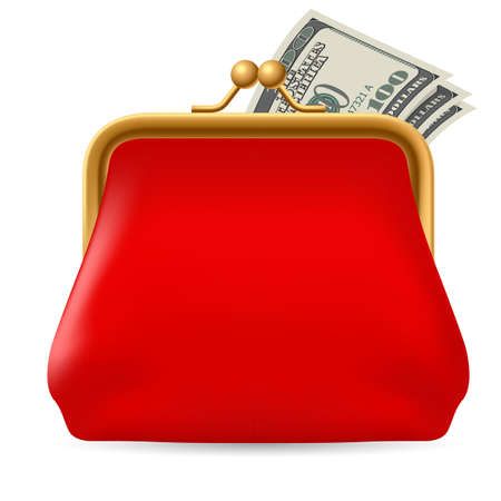 purses: Red purse with dollars. Illustration on white background for design