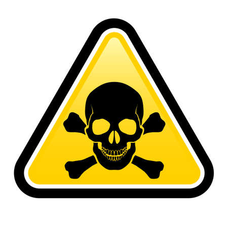 electricity danger of death: Skull danger signs.  Illustration on white background for design