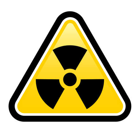 imperil: Yellow triangle sign with a radiation symbol on white glossy plane Illustration