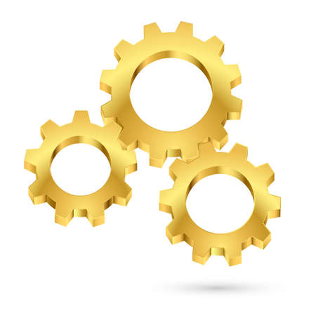 Three gears connected together. Illustration on white background for design