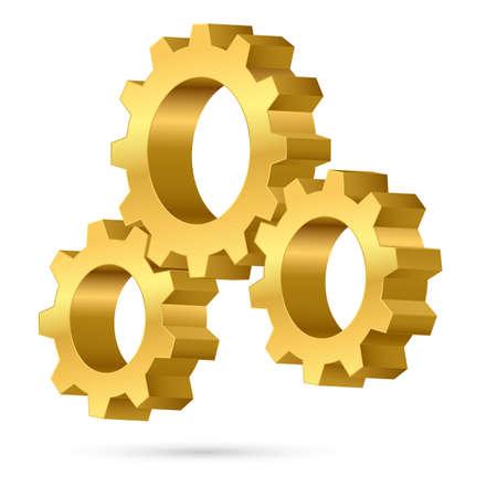 three wheel: Three gears. Illustration on white background for design  Illustration