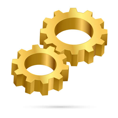 turn screw: Two gears.  Illustration on white background for design Illustration