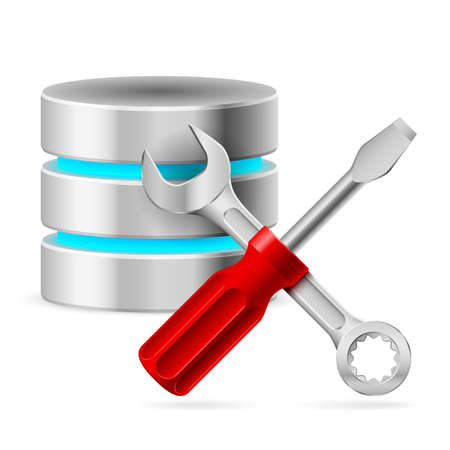 mending: Configuring Database with tools. Illustration on white