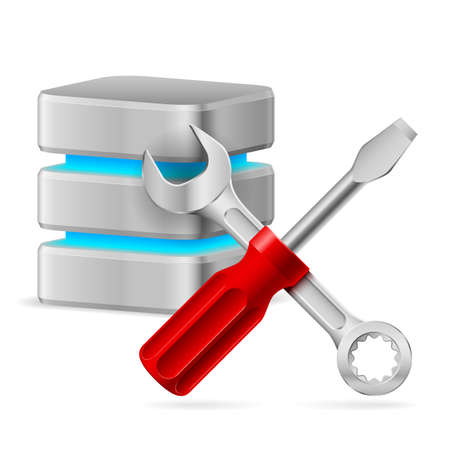 Database icon with tools. Illustration on white Stock Vector - 17473315