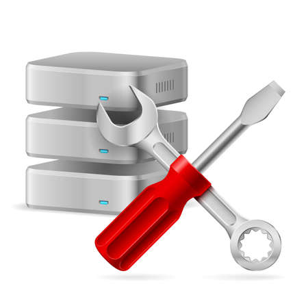 mending: Configuring Database icon. Illustration on white background for design