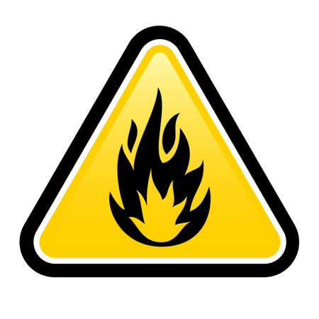flammable warning: Warning sign of flammable product. Illustration on white background for design