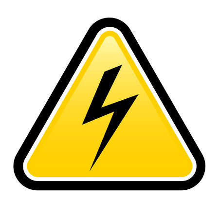 electroshock: Triangle sign with high voltage symbol isolated on white