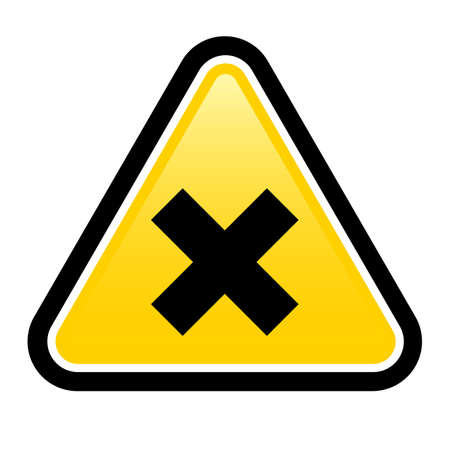 imperil: Harmful yellow sign on a white background. Part of a series.