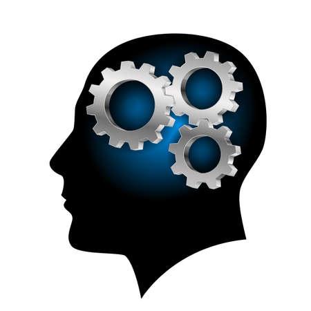 cerebro blanco y negro: Los seres humanos con cerebro en el interior de la rueda dentada. Ilustraci�n sobre fondo blanco para el dise�o
