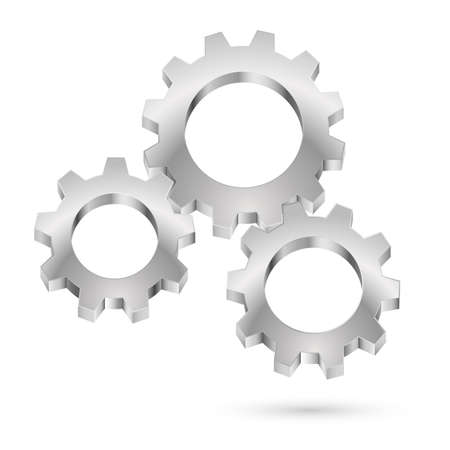 toothed: Chrome gearwheel. Illustration on white background for design