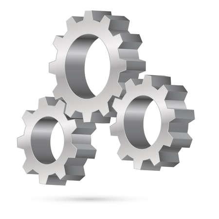 aluminum wheels: Chrome rueda dentada. Ilustraci�n sobre fondo blanco Vectores