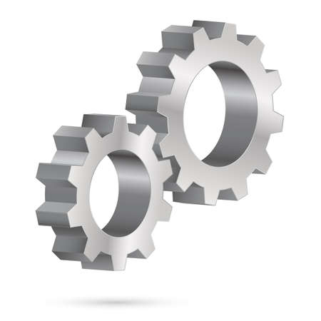 Two chrome gearwheel. Illustration on white background for design Vector