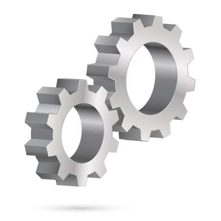 gearwheel: Two chrome gearwheel. Illustration on white background for design