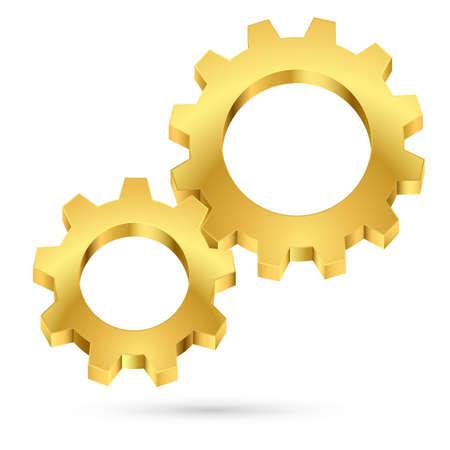 gearwheel: Golden gearwheel. Illustration on white background