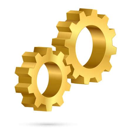 toothed: Golden gearwheel. Illustration on white background for design