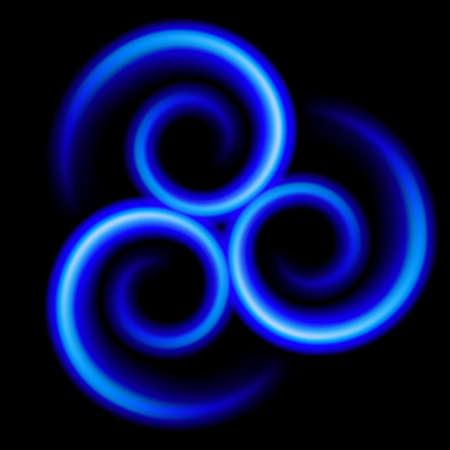 Three an abstract blue Swirls. Illustration on black Stock Vector - 17755073