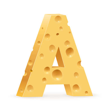 parmesan: Cheese font A letter. Illustration on white