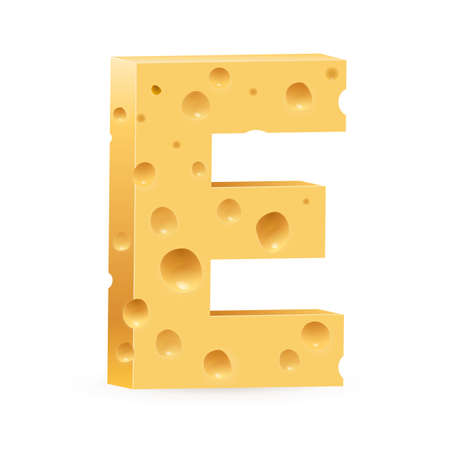 cheese cartoon: Cheese font E letter. Illustration on white Illustration