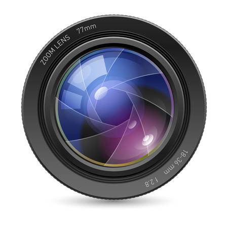 home video: Camera icon Lens. Illustration on white background