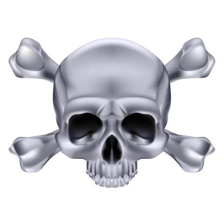 Silver  Skull and crossbones. Illustration on white background for design Stock Vector - 17872854