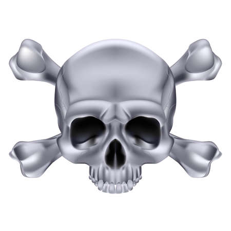 Silver  Skull and crossbones. Illustration on white background for design Stock Vector - 17872854
