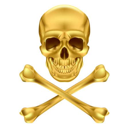 Gold Skull and Crossbones. Illustration on white Stock Vector - 17872863