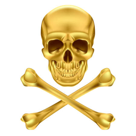 Gold Skull and Crossbones. Illustration on white Illustration