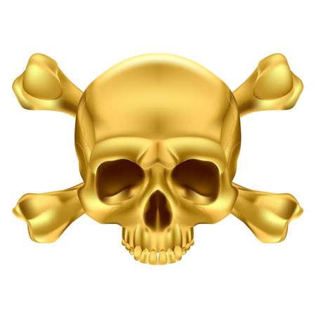 Gold Skull and Crossbones. Illustration on white background Stock Vector - 17872856