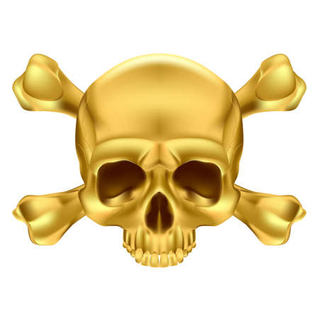 one eye: Gold Skull and Crossbones. Illustration on white background