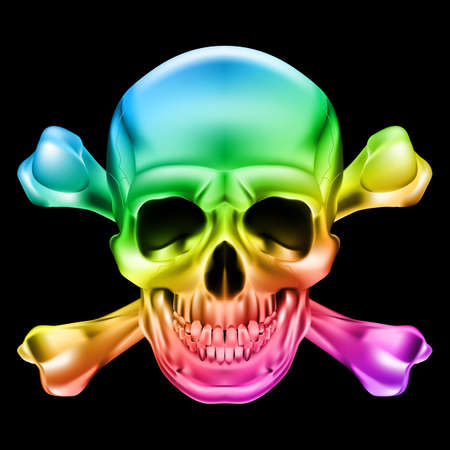 toxic substance: Rainbow Skull and Crossbones. Illustration on black background Illustration