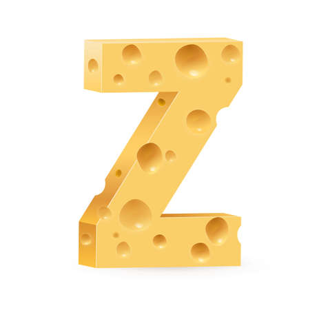 parmesan: Cheese font Z letter. Illustration on white.