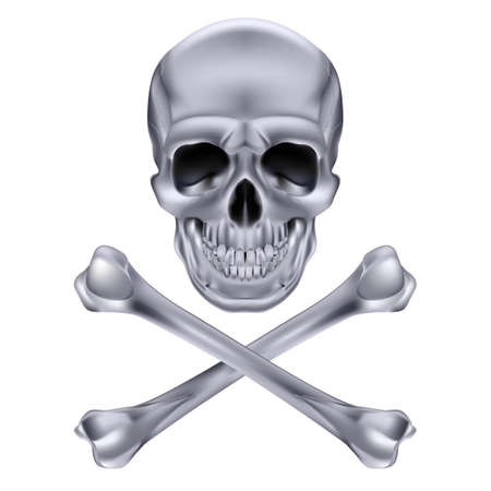 Silver Skull and crossbones. Illustration on white background for design Stock Vector - 17872861
