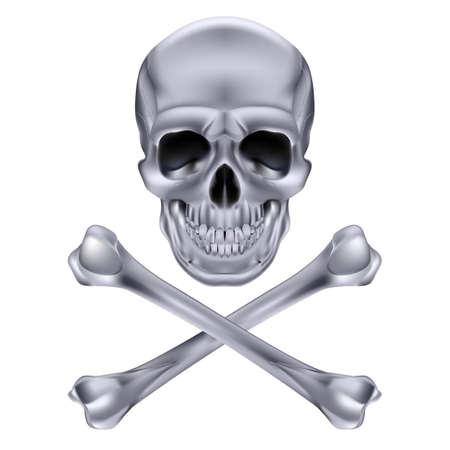 skull and cross bones: Silver Skull and crossbones. Illustration on white background for design