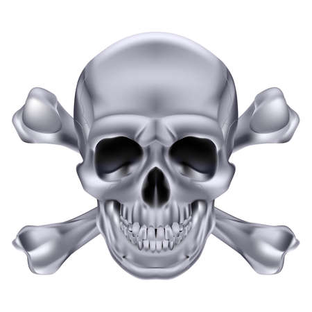 scary eyes: Silver Skull and crossbones. Illustration on white background for creative design