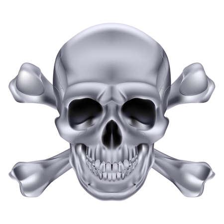 Zilver schedel en gekruiste beenderen. Illustratie op witte achtergrond voor creatieve vormgeving