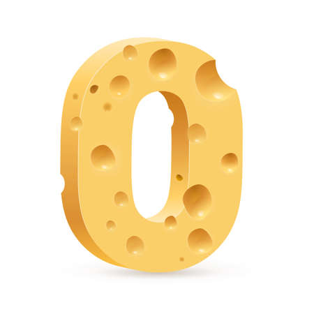 parmesan: Cheese font O letter. Illustration on white.