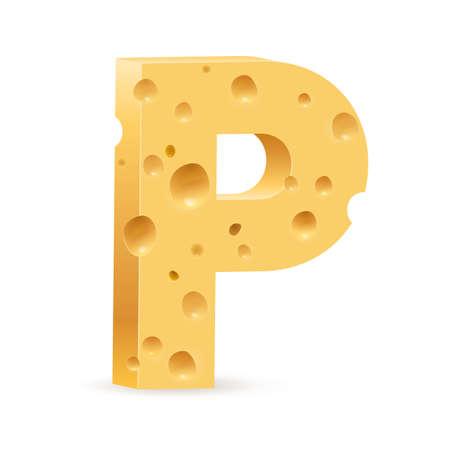 parmesan: Cheese font P letter. Illustration on white. Illustration