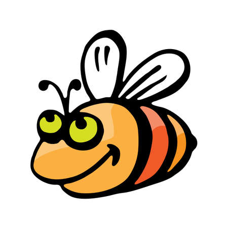 an insect sting: Funny cartoon bee. Illustration on white background for design