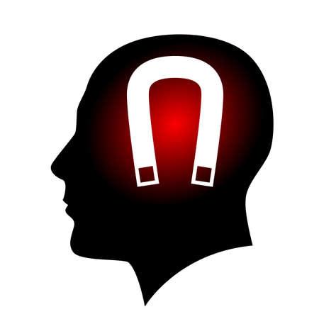 polarize:  Human face with horseshoe magnet. Illustration on white background